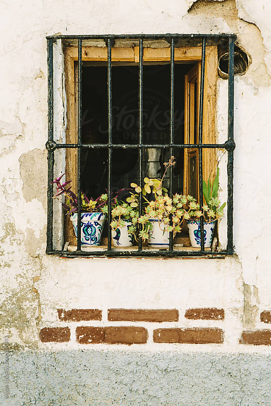 Window with flowers in andalucia spain by kkgas for Stocksy United