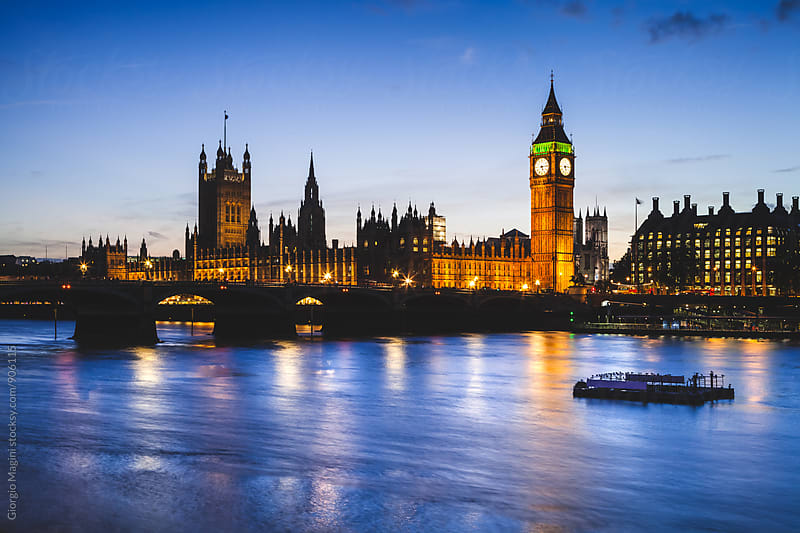 Westminster Palace and River Thames, London Cityscape at Dusk by Giorgio Magini for Stocksy United