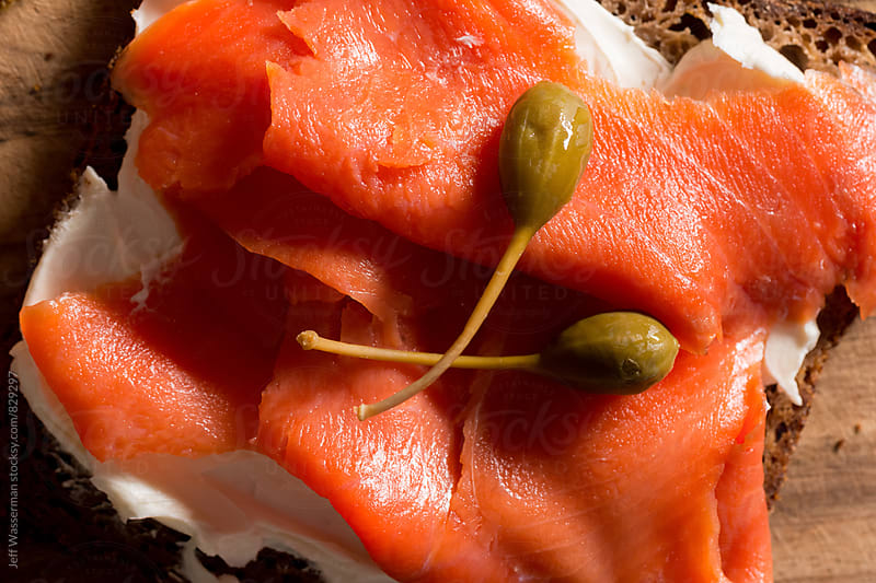 Smoked Salmon and Cream Cheese with Capers in Close by Studio Six for Stocksy United