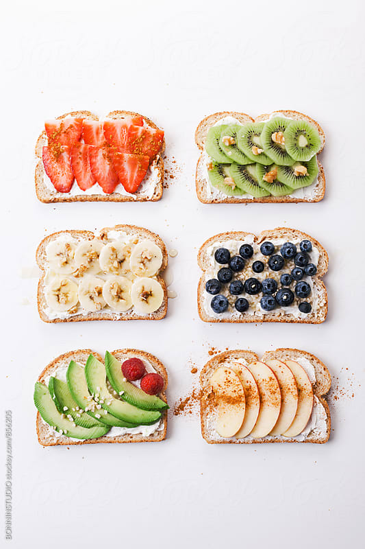 Fruit toasts on white. by BONNINSTUDIO for Stocksy United