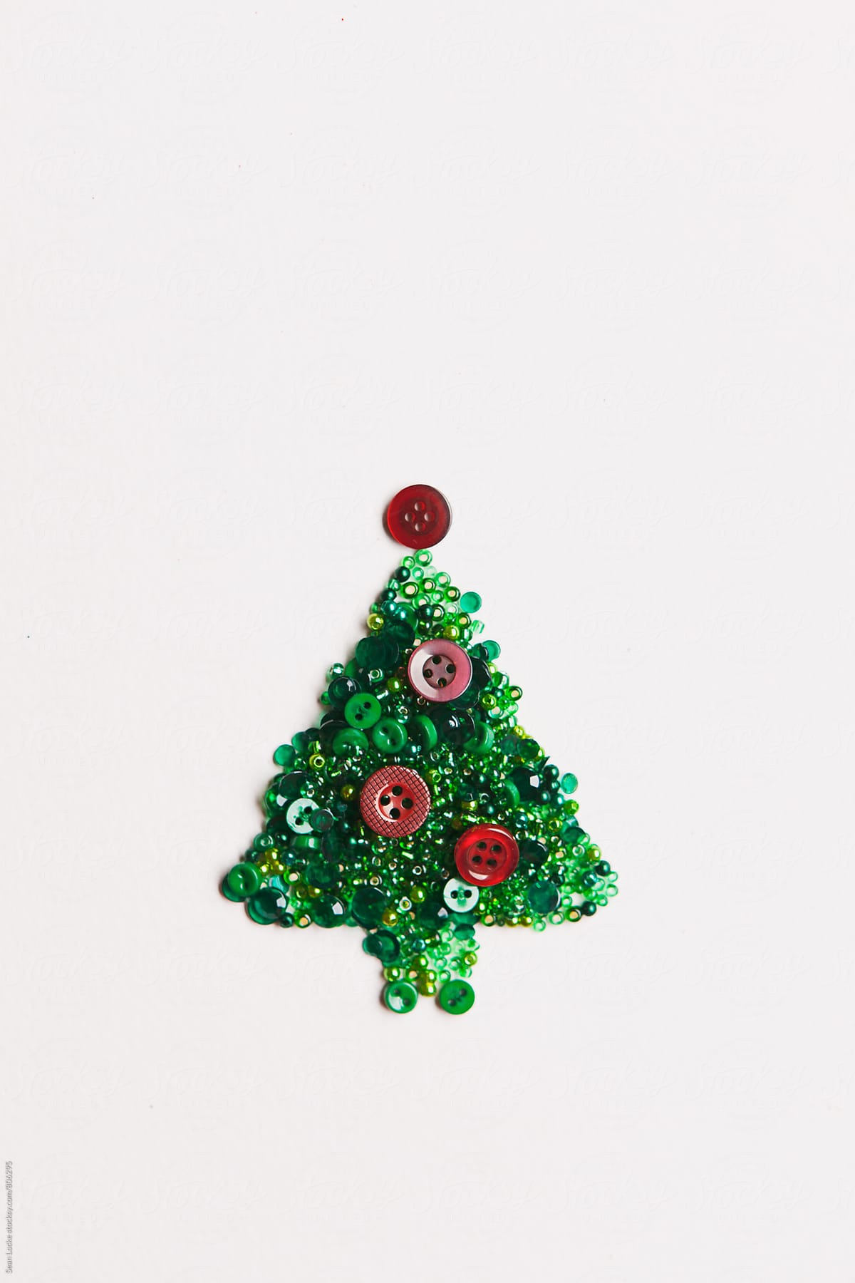 Holiday: Christmas Tree Made From Beads And Buttons