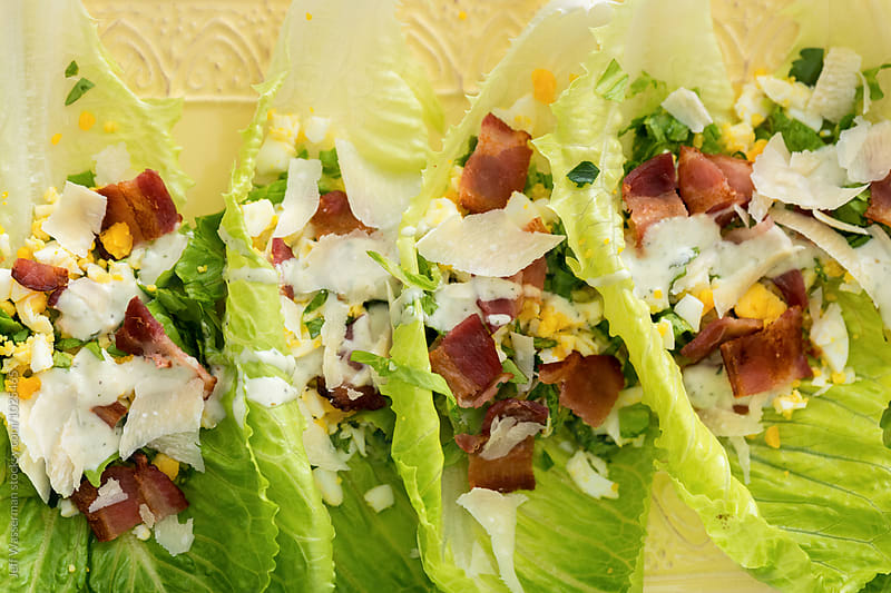 Shared Romaine Lettuce Salad with Egg and Bacon by Studio Six for Stocksy United