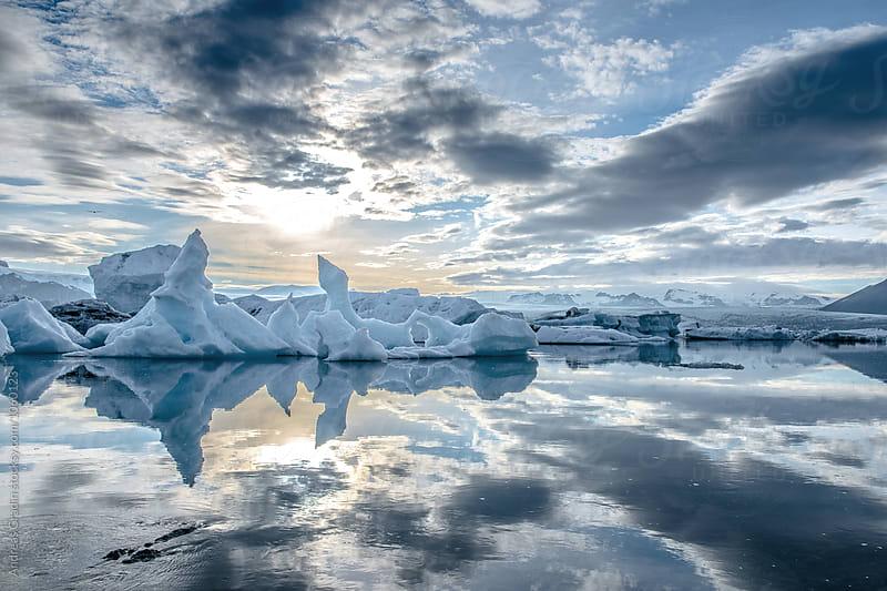 Iceland glacier lagoon by Andreas Gradin for Stocksy United
