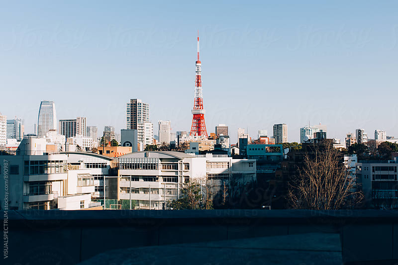 Tokyo Tower on Sunny Day by VISUALSPECTRUM for Stocksy United