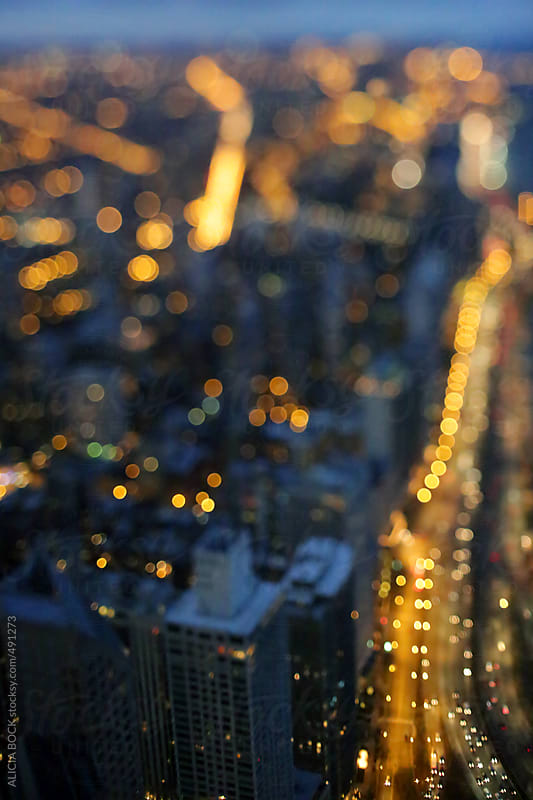 An Abstract View Of Chicago At Night  by ALICIA BOCK for Stocksy United