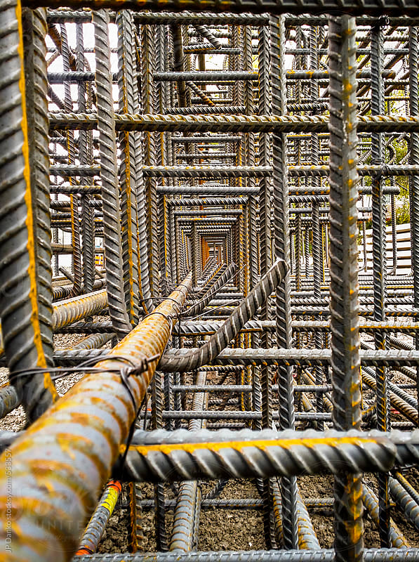Interior of Reinforcing Steel Cage for Reinforced Concrete Bridge Pier by JP Danko for Stocksy United
