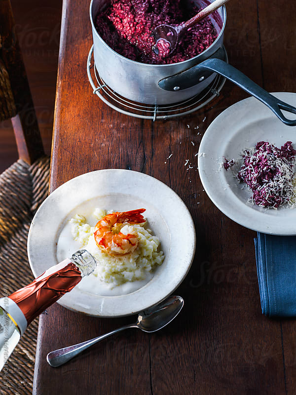 Risotto with red wine and risotto with champagne by J.R. PHOTOGRAPHY for Stocksy United