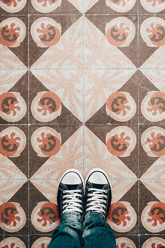View from above of a beautiful vintage tiled floor by Vera Lair for Stocksy United