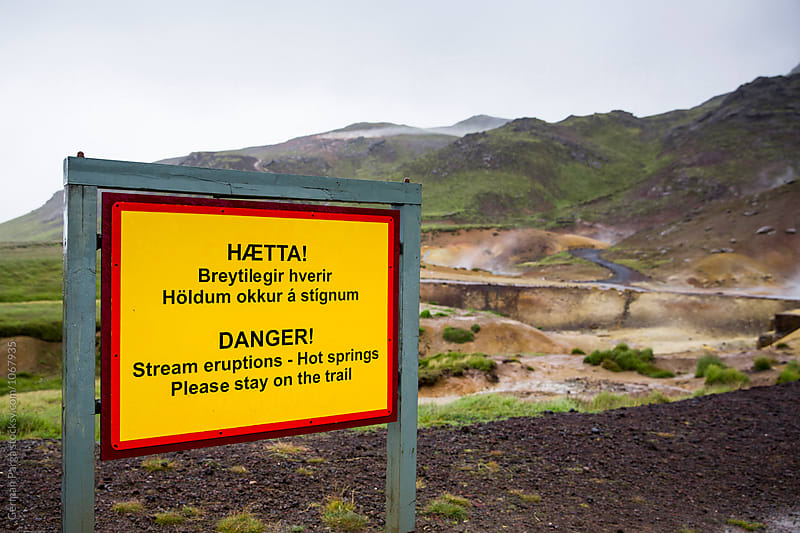 Warning of danger in geothermal area by German Parga for Stocksy United