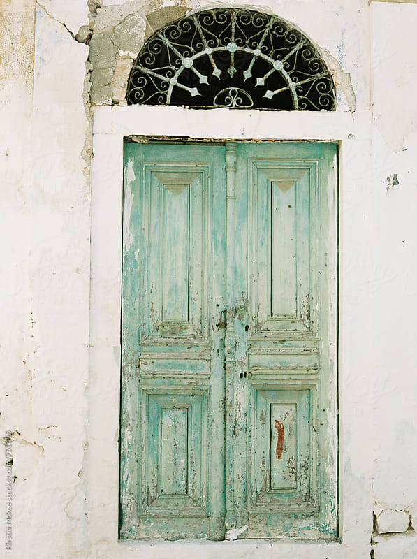 Detail of old door in Kastellorizo, Greece by Kirstin Mckee for Stocksy United