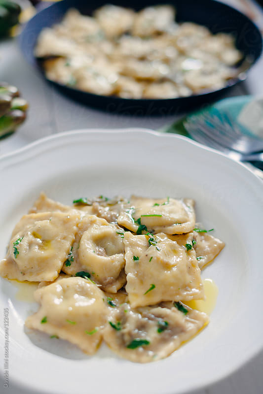 Homemade ravioli with artichokes by Davide Illini for Stocksy United