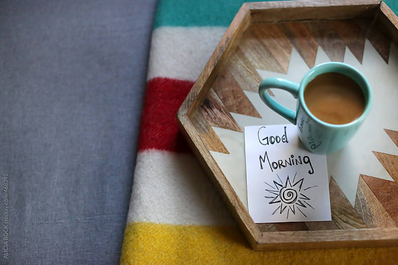 A Cup and Coffee and a Note On A Cozy Bed by ALICIA BOCK for Stocksy United