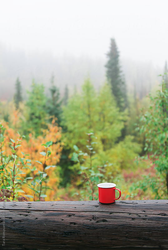 coffee in a camp mug outside on a misty morning by Tara Romasanta for Stocksy United