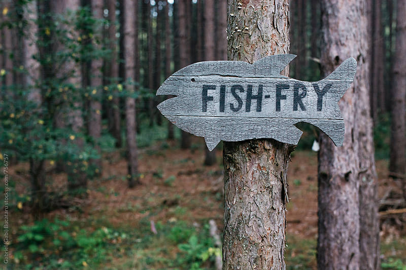 Fish fry sign on a pine tree in a forest by Gabriel (Gabi) Bucataru for Stocksy United