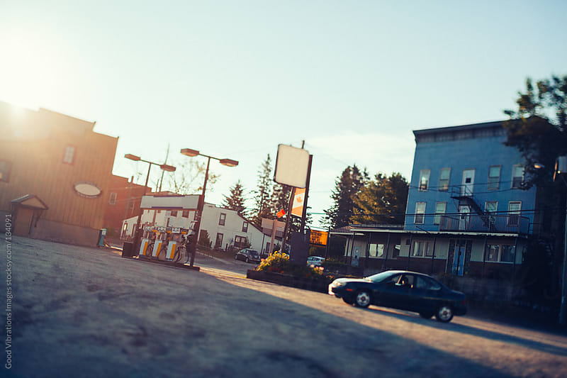 Gas Station at Sunrise by Good Vibrations Images for Stocksy United