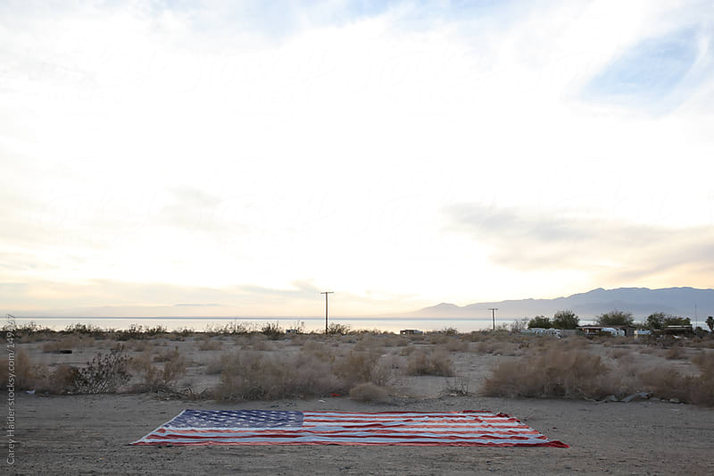 American Flag In The Desert by Carey Haider for Stocksy United