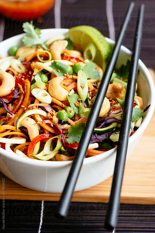 Rainbow Veggie Dragon Noodle Salad by Harald Walker for Stocksy United