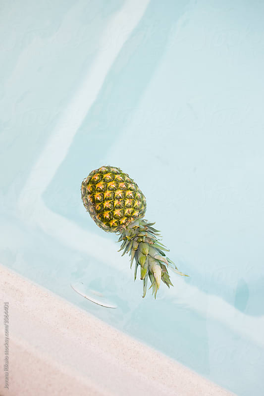 Pineapple floating in the pool by Jovana Rikalo for Stocksy United