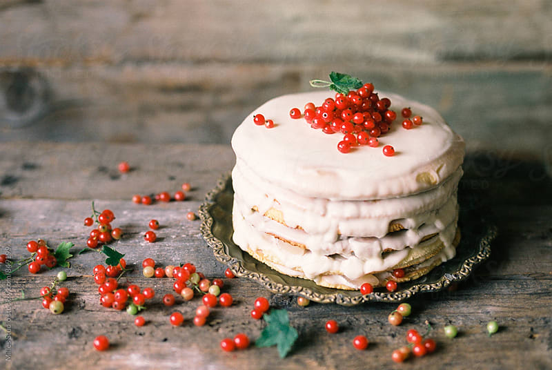 Cake with red currant by Milles Studio for Stocksy United