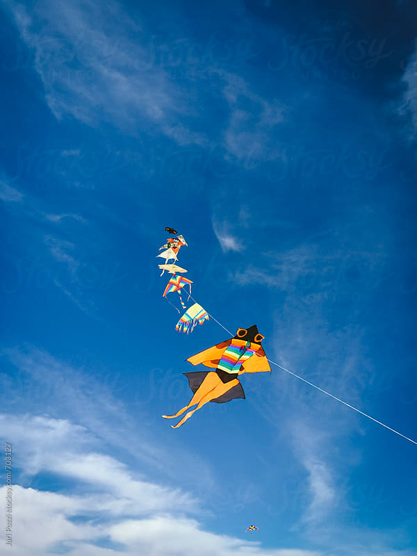 kites tied each other flying by Juri Pozzi for Stocksy United