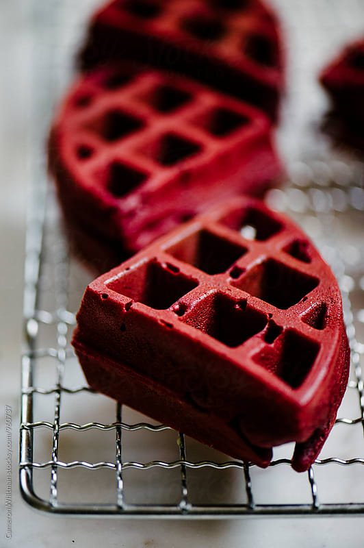 Red Velvet Cake Waffles by Cameron Whitman for Stocksy United