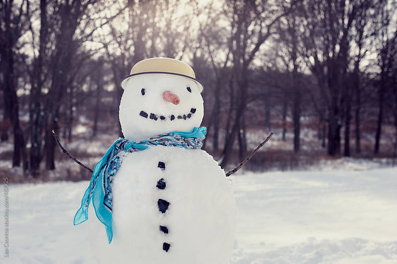 Smiling snowman on a snow covered field wearing hat and scarf by Lea Csontos for Stocksy United