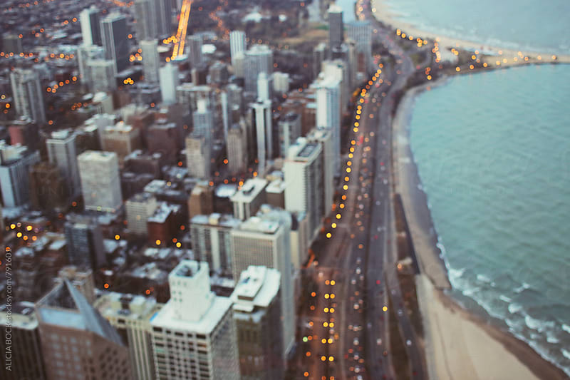 Abstract Aerial View Of Chicago On A Clear Evening With City Lights by ALICIA BOCK for Stocksy United