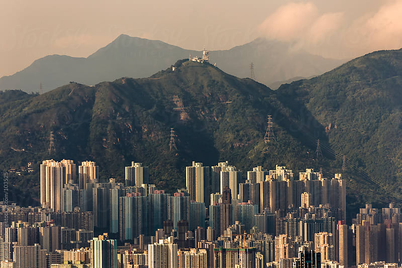 Highrise Apartment Buildings in Kowloon, Hong Kong by Tom Uhlenberg for Stocksy United