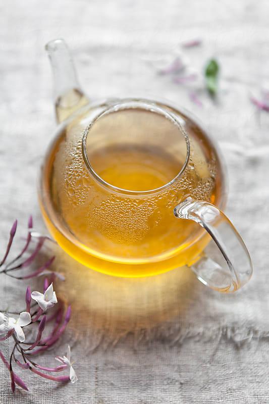 Jasmine green tea in teapot by Nadine Greeff for Stocksy United