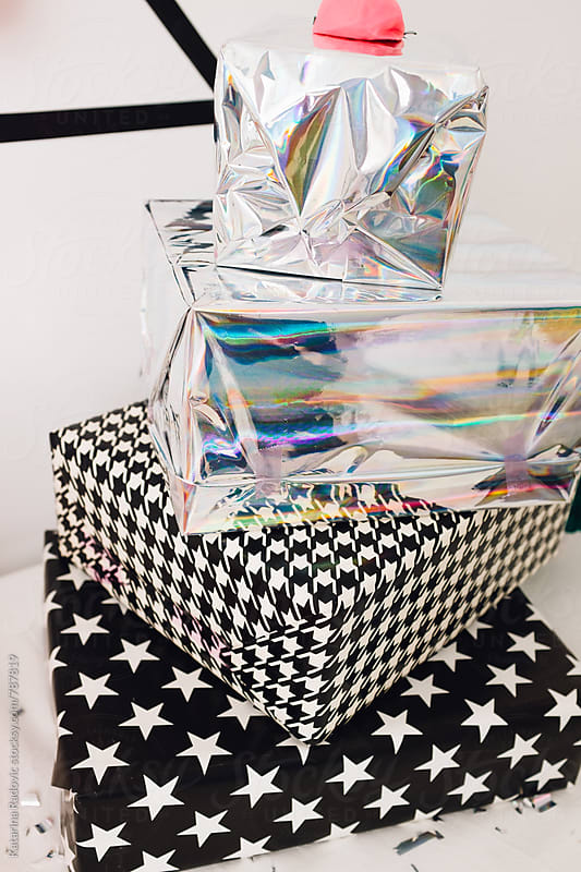 Silver and Shiny Presents Ready For Party by Katarina Radovic for Stocksy United