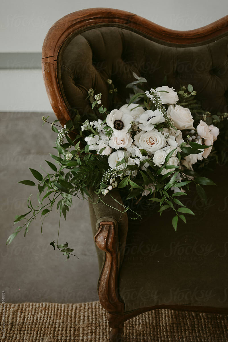 Simple White And Green Wedding Bouquet With Vines And White Flowers