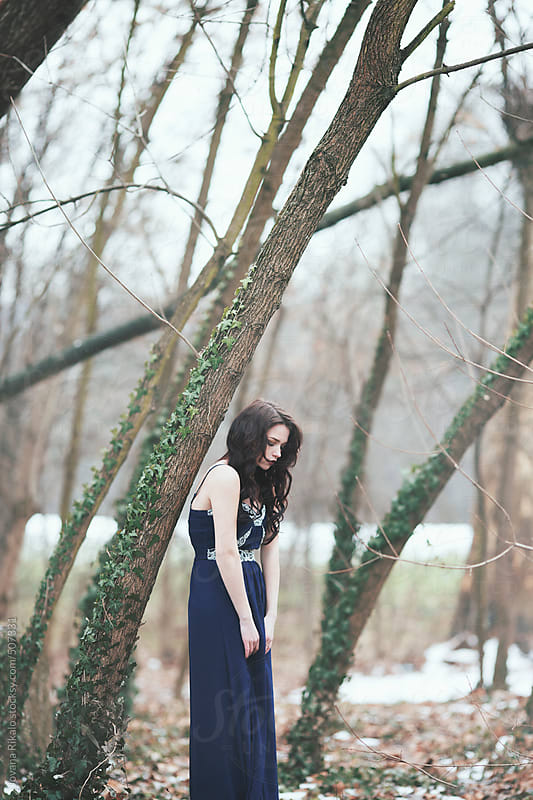 Woman in forest by Jovana Rikalo for Stocksy United