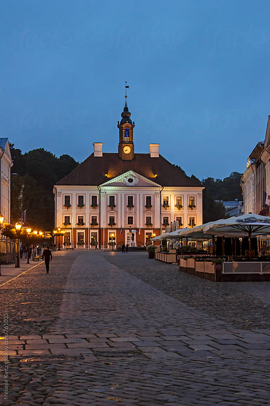 Tartu townhall at twilight by Melanie Kintz for Stocksy United