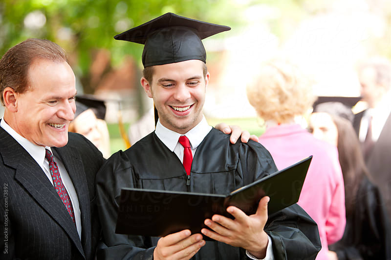 Graduation: Father and Son Excited About Graduation Day by Sean Locke for Stocksy United