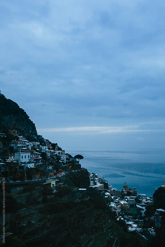 Dusk at the small town of Positano, Italy by Aleksandar Novoselski for Stocksy United