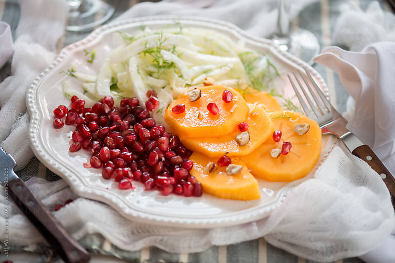 Persimmn, Fennel and Pomegranate Salad by Studio Six for Stocksy United