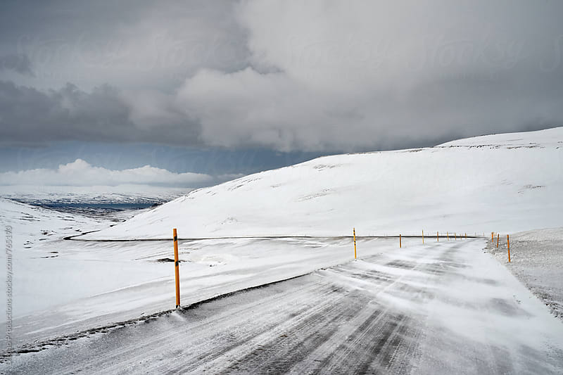 Icelandic winter road conditions by Daxiao Productions for Stocksy United