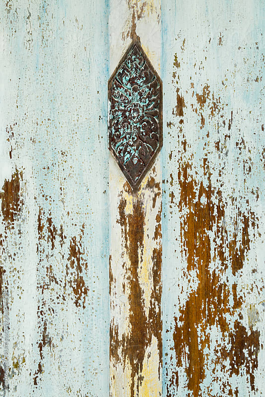 Weathered Turquoise Shutter Detail by VISUALSPECTRUM for Stocksy United