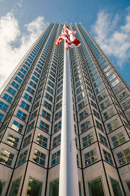 Architecture and US Flag by Stephen Morris for Stocksy United