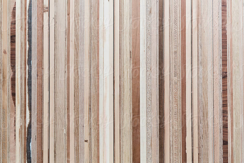 Closeup of a wood surface assembled for various plywood by Lior + Lone for Stocksy United