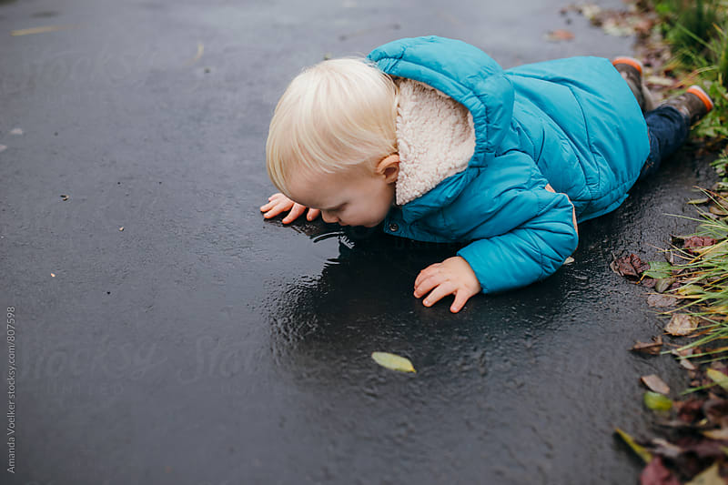 A Toddler Boy Lies on the pavement, Drinking from a Puddle by Amanda Voelker for Stocksy United