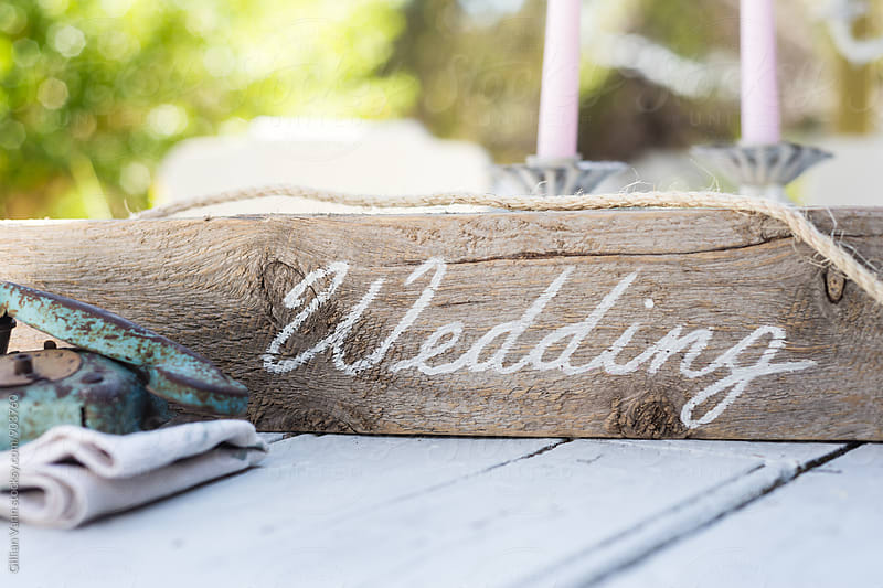 rustic vintage style wedding sign by Gillian Vann for Stocksy United