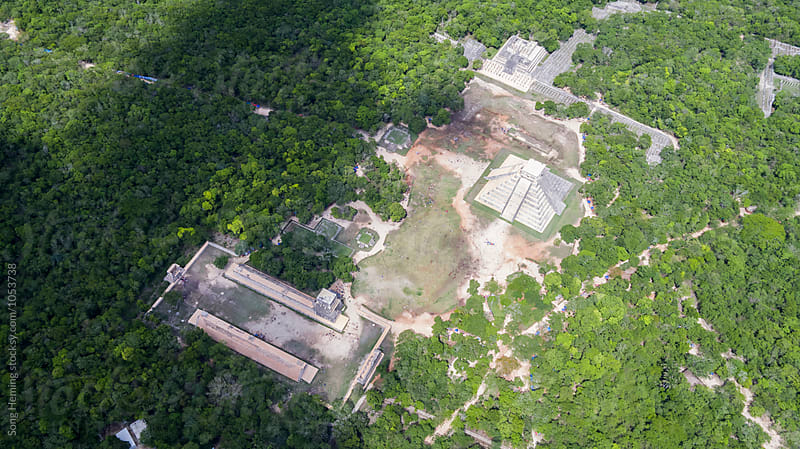 Beautiful aerial view of  Chichen Itza by Song Heming for Stocksy United
