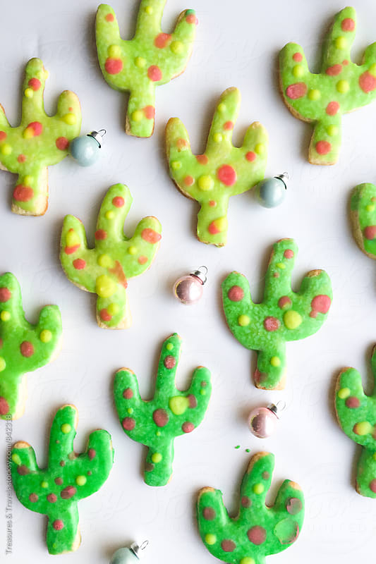 Cactus Christmas Sugar Cookies by Treasures & Travels for Stocksy United