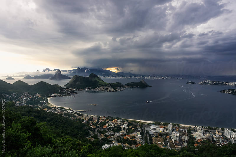 Amazing view of Rio de Janeiro, before a Thunderstorm. Brazil. by Mauro Grigollo for Stocksy United