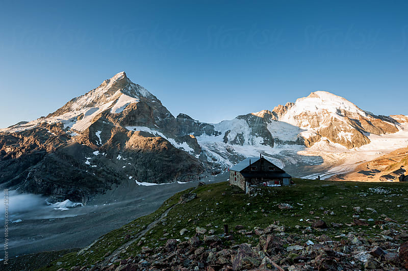 Mountains of Switzerland: Panorama with Matterhorn and Dent D'Herens above Zermatt by Peter Wey for Stocksy United