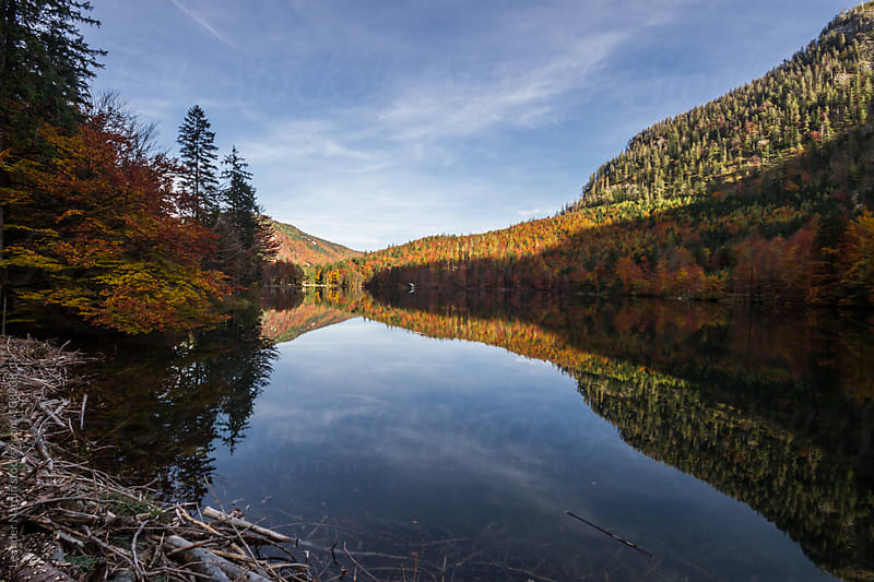 mountain lake reflecting colorful forest in autumn  by Leander Nardin for Stocksy United