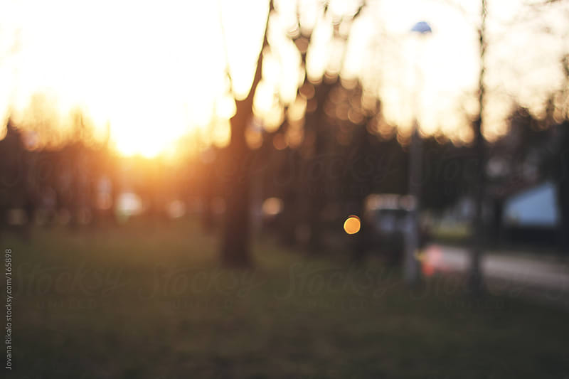 Sunset in my street,blurry  by Jovana Rikalo for Stocksy United