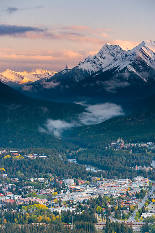 Elevated view of Banff townsite, Rocky mountains, Banff National Park, Alberta, Canada, North America by Gavin Hellier for Stocksy United