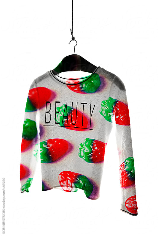 Double exposure with sugar candy and shirt. Beauty word. by BONNINSTUDIO for Stocksy United